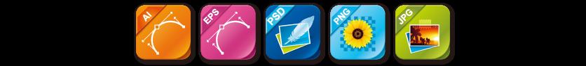 AI、EPS、PSD、PNG、JPG:全5種類のファイル形式