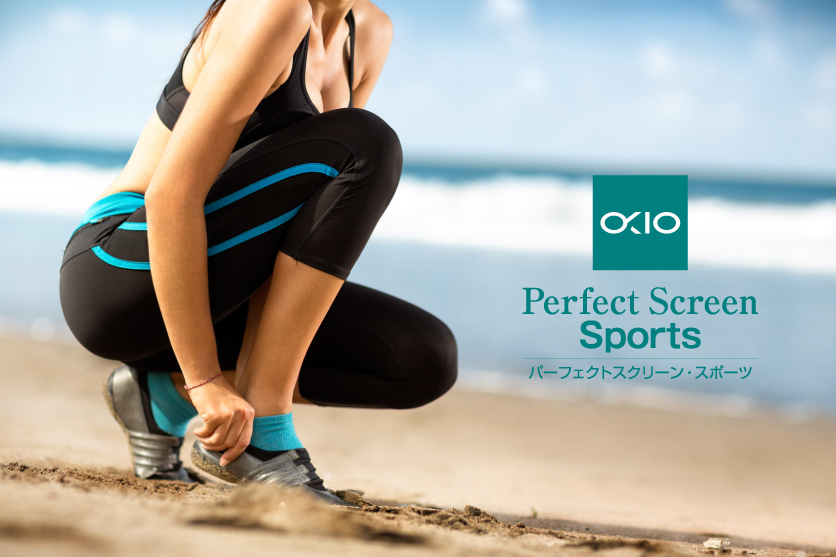 スポーツや運動をする女性向け化粧品ブランドの商品ロゴマーク