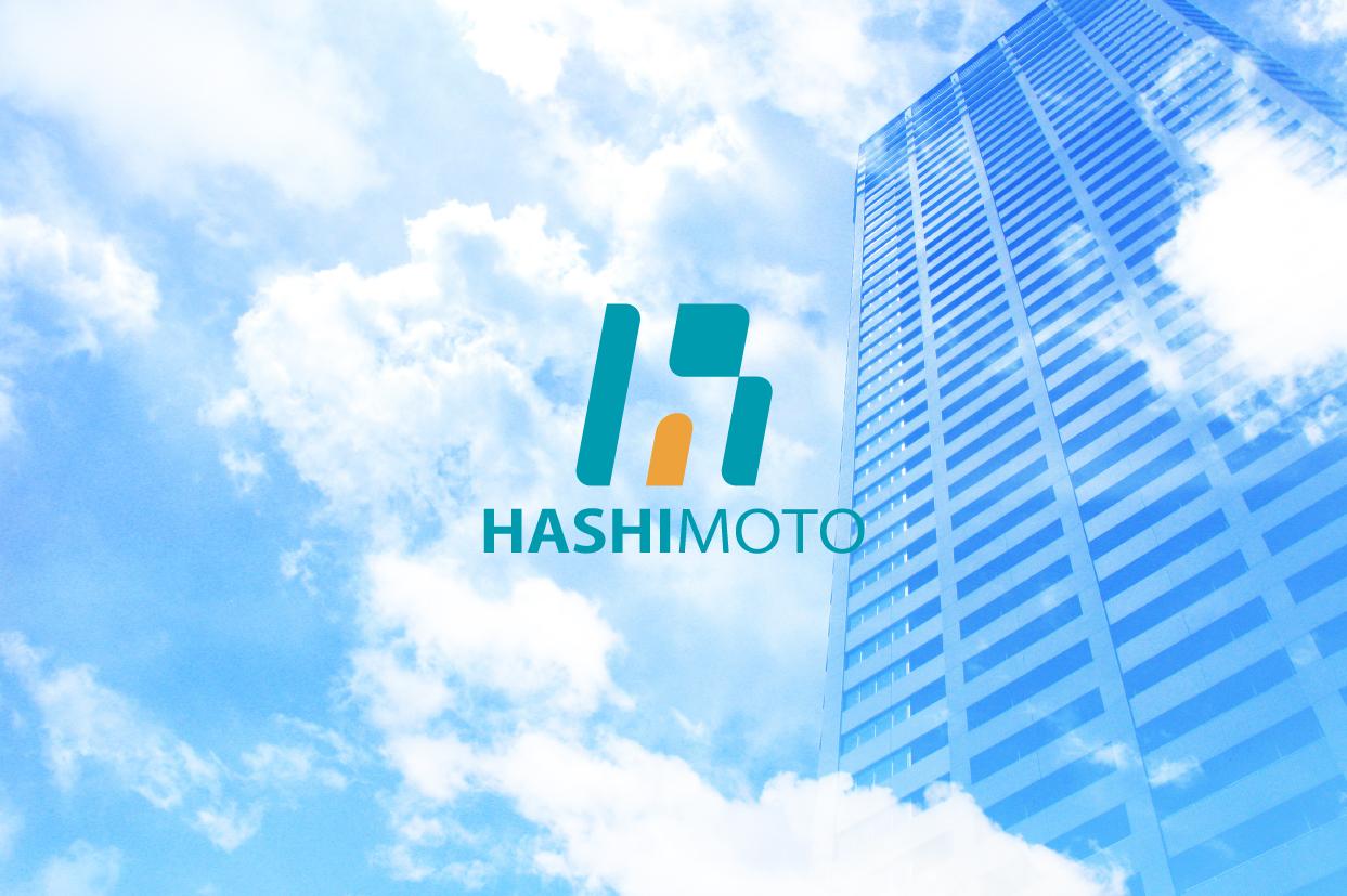 アルファベットと建築物がモチーフの会社の企業ロゴマーク